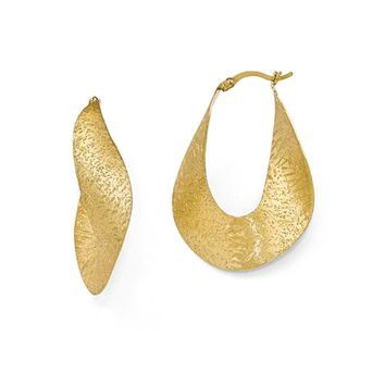 Large Stipple Freeform Hoop Earrings in Yellow Gold Tone Plated Silver