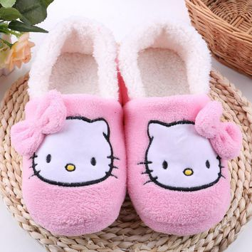 Women House Slippers 2016 hot Hello Kitty Plush Warm Home Slippers Thermal Indoor Slip