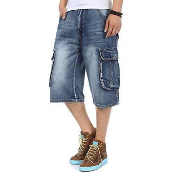 Men's Short Jeans Vintage Light Denim Cargo Short Vintage Jeans