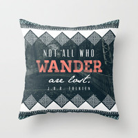 """Wander"" Quote Illustration Throw Pillow by Conteur Co."