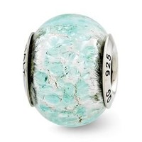 Sterling Silver Light Teal Italian Murano Glass Bead