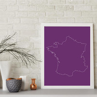 France Outline Purple Background Digital Download 8X10