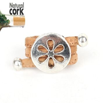Natural cork Antique Hollow flower vintage women cork Ring original adjustable  handmade wooden vegan jewelry HR-007