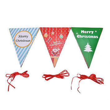Hanging Flags Banner Felt Bunting Garland DIY Xmas Party Christmas Decor HU