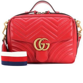 GUCCI Trending Ladies Stylish Metal G Double Zipper Leather Satchel Shoulder Bag Crossbody Red I-MYJSY-BB