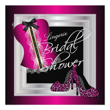 Glamorous Lingerie Bridal Shower | Pink 5.25x5.25 Square Paper Invitation Card