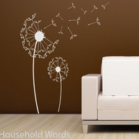 Dandelion Decal Large Flower wall sticker set with blowing seeds Nature Decor