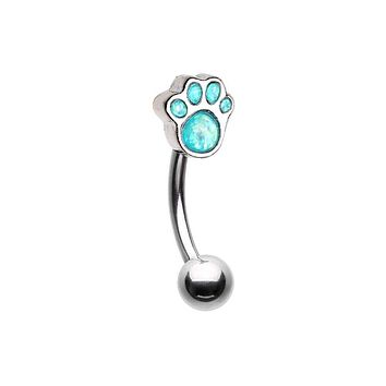 Animal Lover Opal Paw WildKlass Curved Barbell Eyebrow Ring