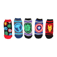 Marvel Heroes Logos No-Show Socks 5 Pair