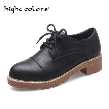 Women Oxfords New Spring Autumn PU Leather Casual Shoes Woman Round Toe Fashion women Shoes lace-up Flat Shoes