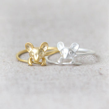 Tiny Mouse Ring / Choose your color / gold and silver