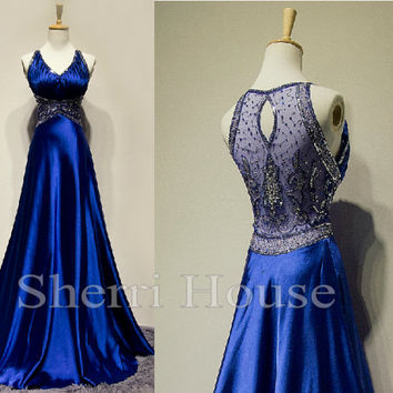Sequins V-Neck Strapless Sheer Back Empired Long Bridesmaid Celebrity dress ,Floor length Chiffon Evening Party Prom Dress Homecoming Dress