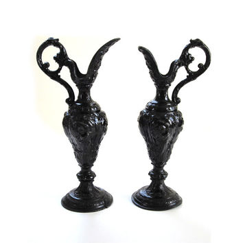 Pair Gothic Grecian Roman Spelter Metal Urn Water Pitcher Decorative His and Hers