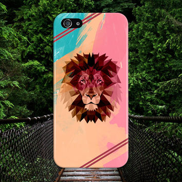 Colorful Pastel Geometric Lion x Burgundy Stripes Case, iPhone 7, iPhone 7 Plus, Tough iPhone Case, Galaxy S7, Samsung Galaxy, CASE ESCAPE