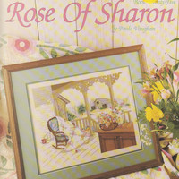 """Rose of Sharon counted cross stitch pattern leaflet country quilting farm scene 16"""" x 13"""" designed by Paula Vaughn Leisure Arts 776"""