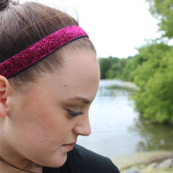 Nonslip Magenta Glitter Headband – No Slip Stretchy Sports Headband – Ribbon & Elastic Hair Accessory – Athletic Head Band – Softball Gift
