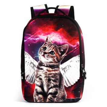 Trend Canvas Travel Backpack Chic Large Capacity Cat Angel Pattern Double Shoulder Bag
