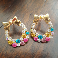 Dainty jewelry Small earrings Gold plated Bow colorful rhinestones Small earrings Gift jewelry vintage jewelry