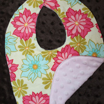 Minky and flannel fabric bib