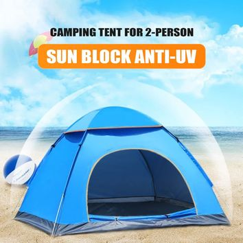 2 Person Pop Up Automatic Tent Hiking Camping Beach Quick Instant Fast Pitch