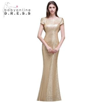 Mermaid Sequined Bridesmaid Dresses Long 2017 Wedding Party Dress Scoop Backless Floor Length Robe Demoiselle D'honne