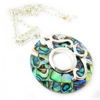 Abalone Pendant Necklace, Color Shell Necklace, Natural Shell Necklace, Silver Chain Necklace, Beach Inspired Necklace