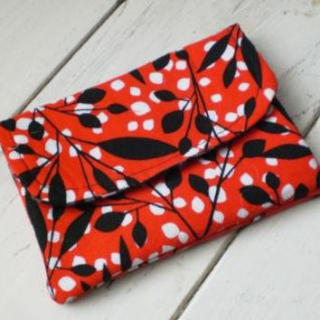 Fabric wallet, women's wallet, fabric wallet red, velcro closure, ready to ship, handmade, cute wallet, floral print, fully lined, pockets