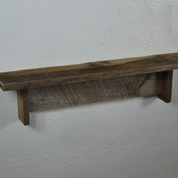 """Brown and gray wall shelf from reclaimed wood 22"""" wide,4"""" deep"""