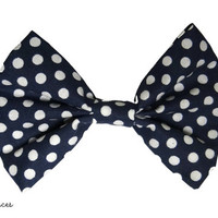 Navy Blue and White Polka Dot Hair Bow by craftsbyfrances on Etsy
