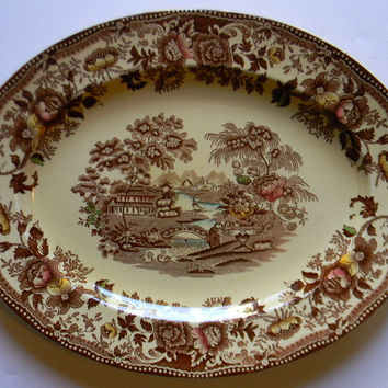 Vintage Brown Transferware Turkey Platter Tonquin Swans Roses English China Transferware Hand Painted Serving Tray