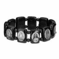 Catholic & Religious Wood Bracelet, Black and White Assorted Catholic Images