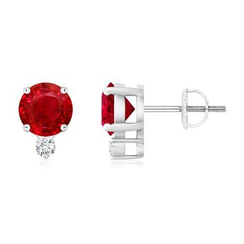 Four-Prong Set Ruby and Diamond Basket Stud Earrings