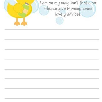 10 Bath Time Baby Shower Advice Cards Duck