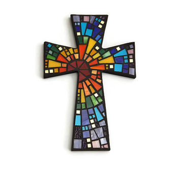 "Mosaic Wall Cross, Large, Black with Rainbow Glass, ""Blessed"", Handmade Stained Glass Mosaic Cross Wall Decor, 15"" x 10"""