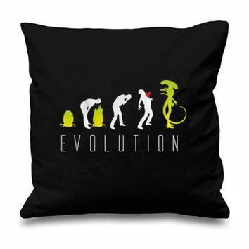 """Geek Evolution of Alien Cushion Cover Funny Alien Evolution Throw Pillow Case Novelty Black Science Fiction Sofa Decor Gifts 18"""""""
