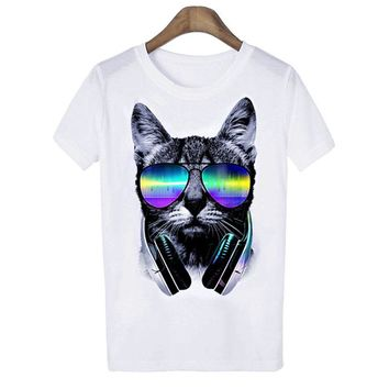 New Fashion Men and Women Music DJ Cat Printed Funny Polyester T shirt Unisex Tops White
