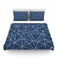 "Project M ""Abstraction Outline Navy"" Blue Abstract Featherweight Duvet Cover"