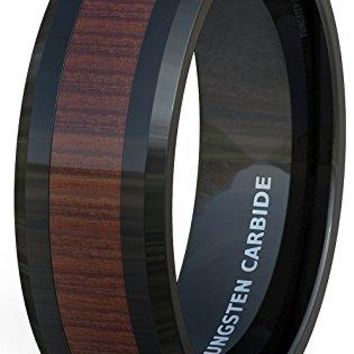 8mm Mens Wedding Band Black Tungsten Ring Wood Pattern Inlay Beveled Edge Comfort Fit