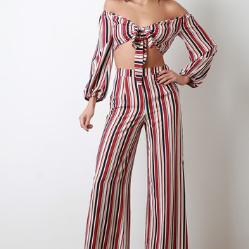 Striped Off-The-Shoulder Crop Top with Palazzo Pants