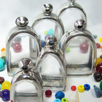Bird Cage Pendant Cases,Set of 6, Reliquaries, Shadow Box Pendants, Clear Locket, Necklace Containers, Art and Craft, Terrarium Necklace