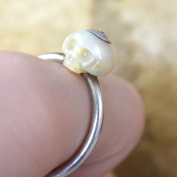 Carved Skull Pearl Ring on Thin Sterling Silver Band - Carved Pearl Jewelry