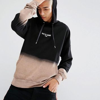 Sixth June Oversized Hoodie With Bleach Fade at asos.com
