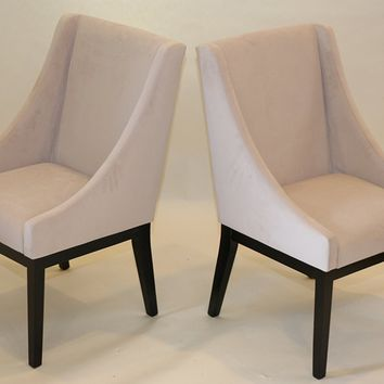 New Century® Set of 2 Contemporary Beige Microfiber Accent Chairs