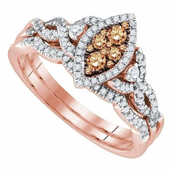 14kt Rose Gold Women's Round Brown Diamond Cluster Twist Bridal Wedding Engagement Ring Band Set 1-2 Cttw - FREE Shipping (US/CAN)