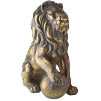 Lion Statue with Right Paw on Ball - Bronze