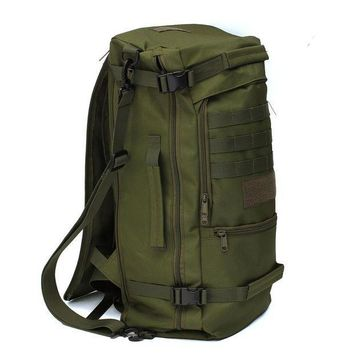 ICIK7N3 50L Canvas Outdoor sports Military Tactical Rucksack travel Camping Hiking Backpack climbing bag double shoulder Bag