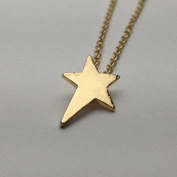 Shooting Star Necklace - Dreamy Space Jewelry Lucky Star Starry Night galaxy universe Astronomy Sky watcher Star Gazing 18K Gold Plated
