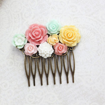 Colorful Bridal Hair Comb Mint Coral Pink Rose Yellow Rose Floral Collage Bridemaids Gift Garden Wedding Hair Accessories Flowers for Hair