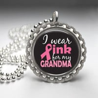 Breast Cancer Awareness Handmade Necklace - I Wear Pink