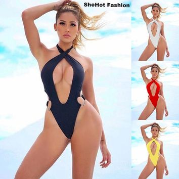Women Sexy Solid Color Cross Halter Swimsuit